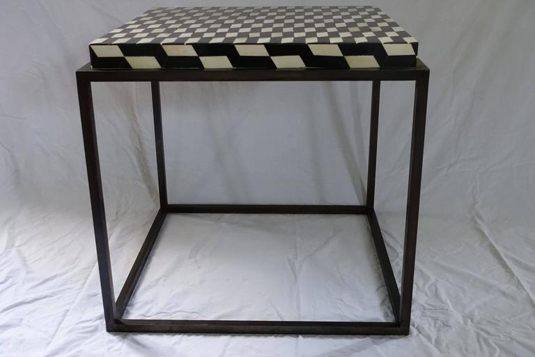Contemporary Faux Bone Black and White Iron Base Side Table For Sale 2