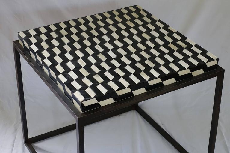 Contemporary Faux Bone Black and White Iron Base Side Table For Sale 1