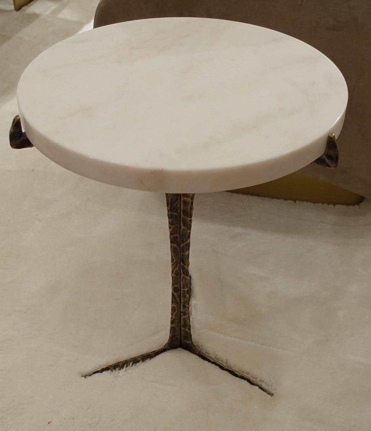 Round Marble-Top Brass Base Cocktail Table, Portugal