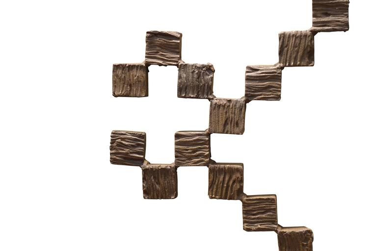 Mid-Century Italian stacked mini square iron box sculpture from the Brutalist movement. Wood base. Base 16
