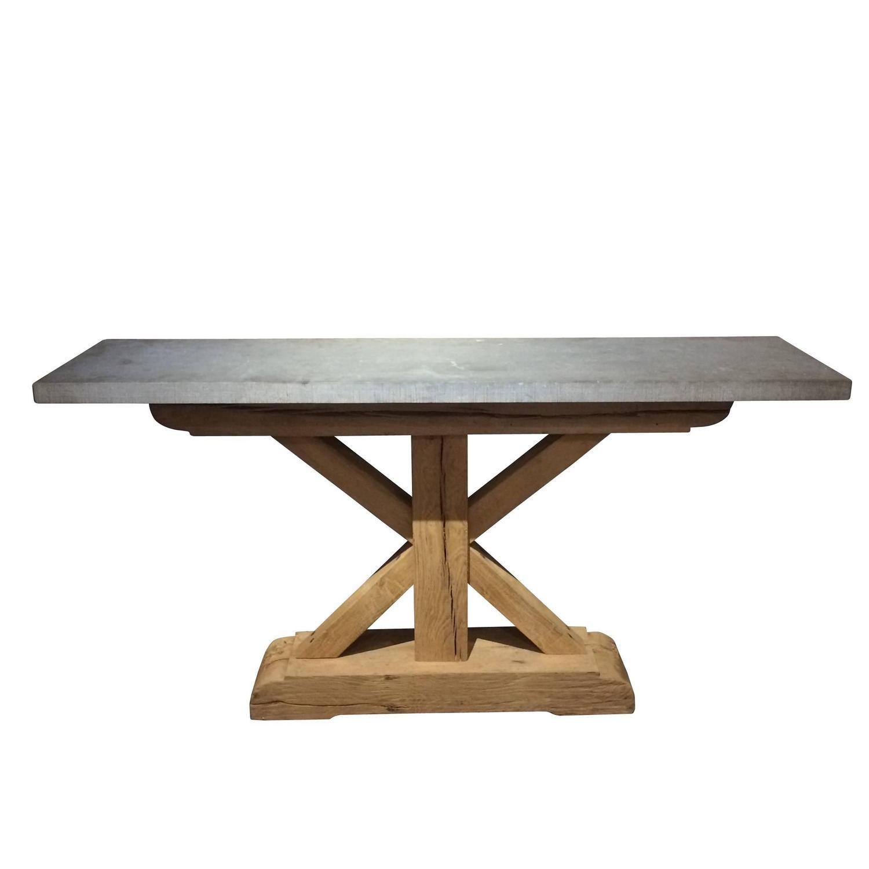 Belgian Bluestone Console Table 19th Century Base Modern Top at