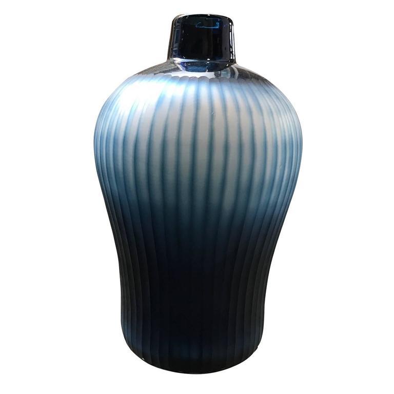 Blue Vertical Ribbed Vase, Romania, Contemporary