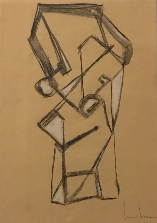 Italian Artist Franco Ferrari Charcoal Drawing, Contemporary 2