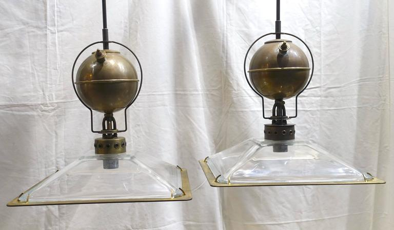 Italian Pair of Square Glass Shade Industrial Light Fixtures, Contemporary In Excellent Condition For Sale In New York, NY