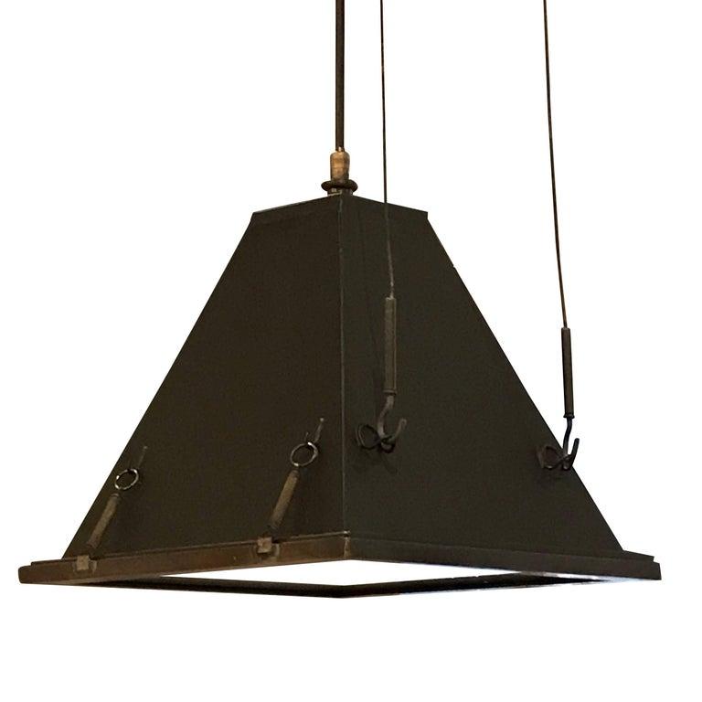 Pair Of Iron Pyramid Lights Brass Trim Italy Mid