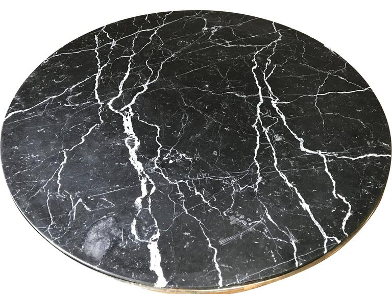 Mid-Century Marble-Top Steel Base Round Side Table, France For Sale 1