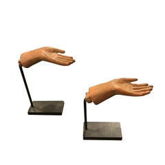 Mini Horizontal Hand Sculptures on Stands, France, 1980s