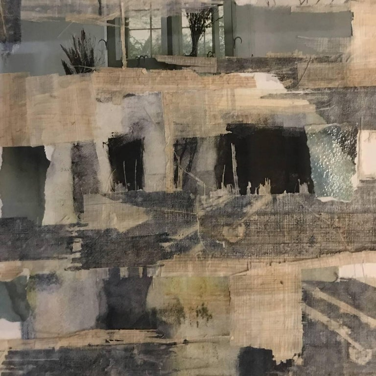 Contemporary abstract mixed-media collage by American artist Sandra Constantine Archivally mounted on museum board in an anodized black aluminum frame with acrylic The artist, born in 1971, lives, works and has exhibited in New York City She
