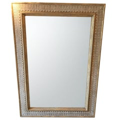 Gold Gilt White Crackle Border Framed Mirror, France, 1940s