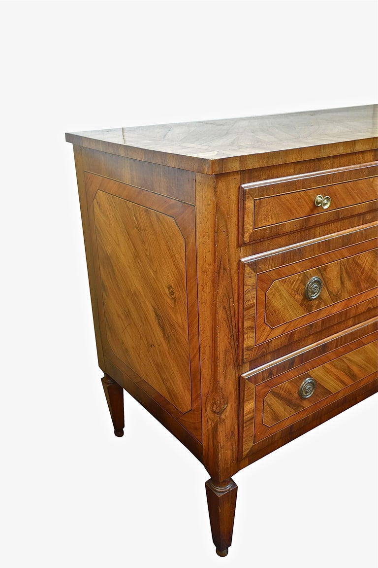 Italian Three-Drawer Inlay Commode, Italy, 19th Century For Sale