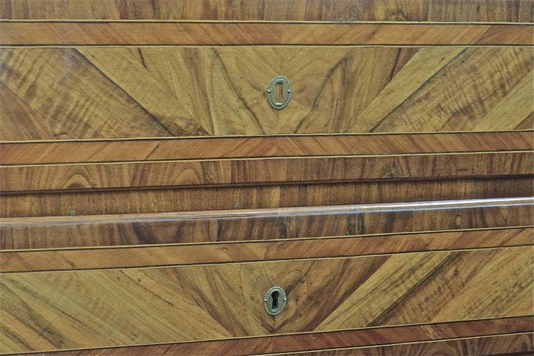 Walnut Three-Drawer Inlay Commode, Italy, 19th Century For Sale
