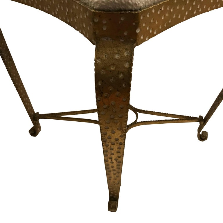 French Pair of Hammered Gold Gilt Metal Foot Stools, Italian, 1950s For Sale