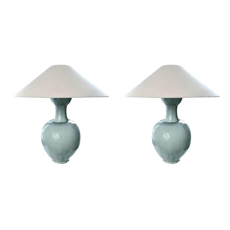 Pair of Tulip Shape Washed Turquoise Lamps, China, Contemporary
