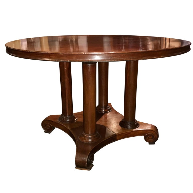 19th Century Round Mahogany Center Hall Or Side Table, France