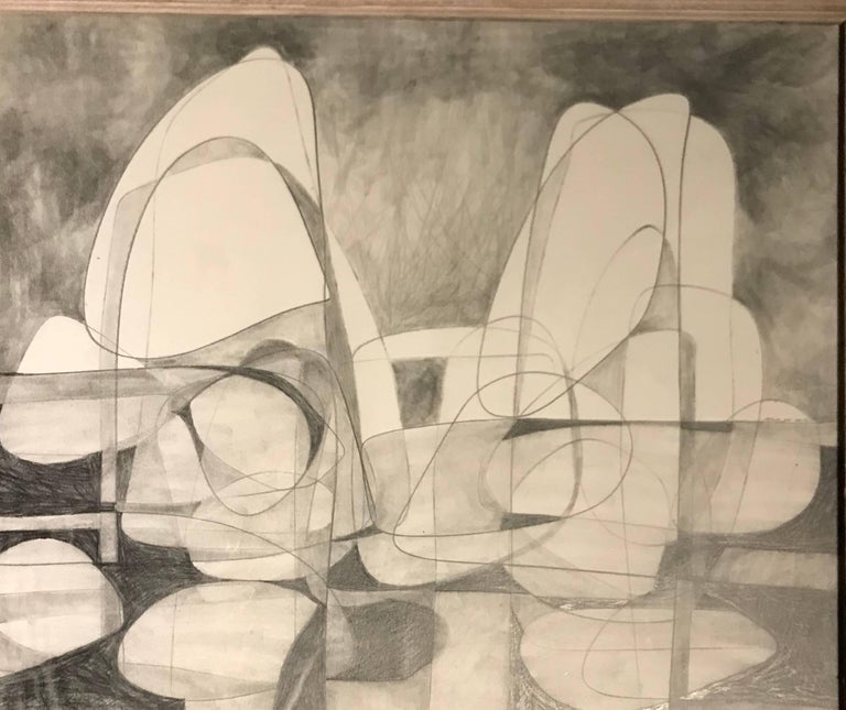 Contemporary original abstract charcoal drawing by American artist David Dew Bruner.