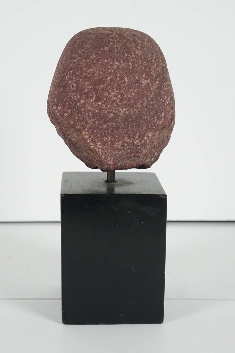 Egyptian Carved Red Granite Head of a Pharaoh Ptolemaic Period Form In Excellent Condition For Sale In Hudson, NY