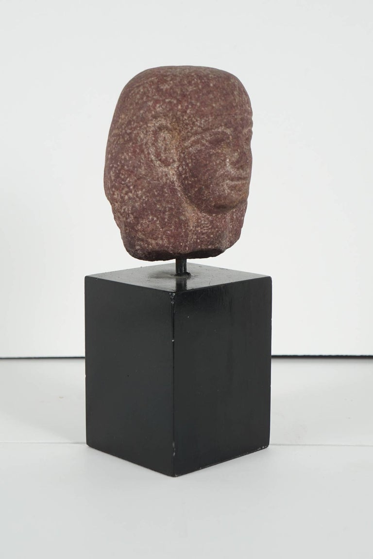 18th Century and Earlier Egyptian Carved Red Granite Head of a Pharaoh Ptolemaic Period Form For Sale