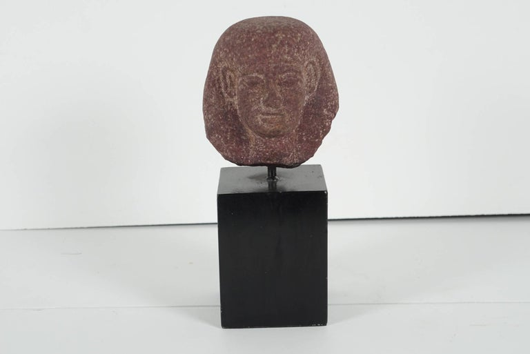 Egyptian Carved Red Granite Head of a Pharaoh Ptolemaic Period Form For Sale 2