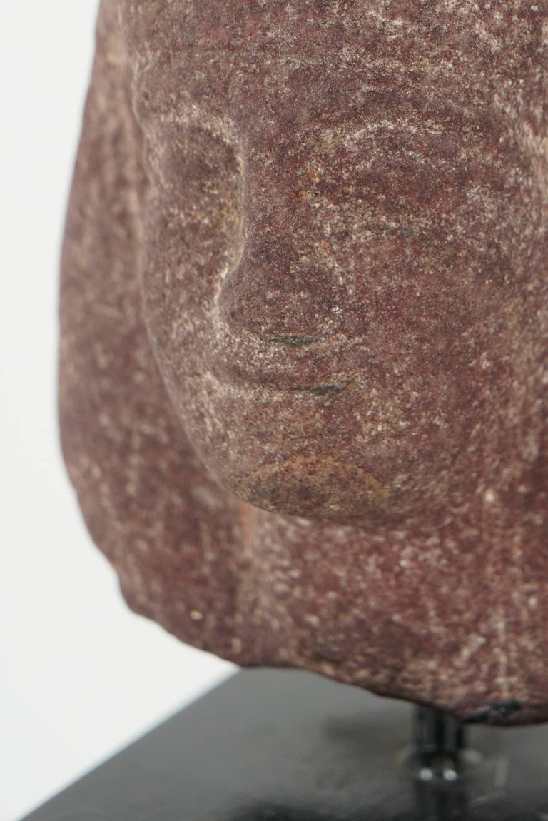 Egyptian Carved Red Granite Head of a Pharaoh Ptolemaic Period Form For Sale 3