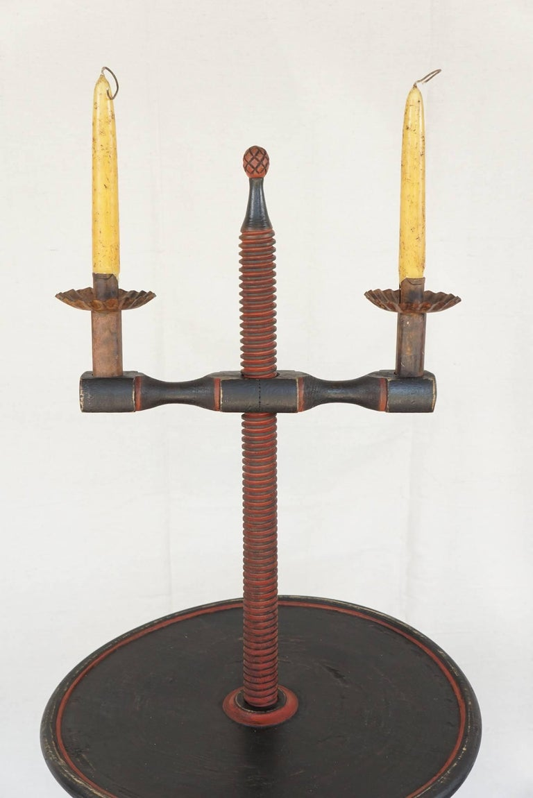 Vintage Colonial Style Adjustable Candlestand Table 2