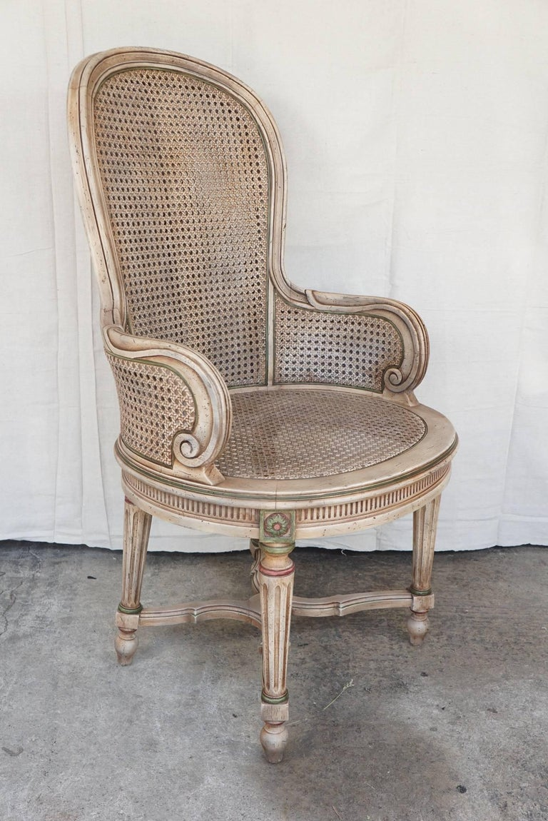 American Three Vintage Louis XVI Style Tall Caned Armchairs For Sale