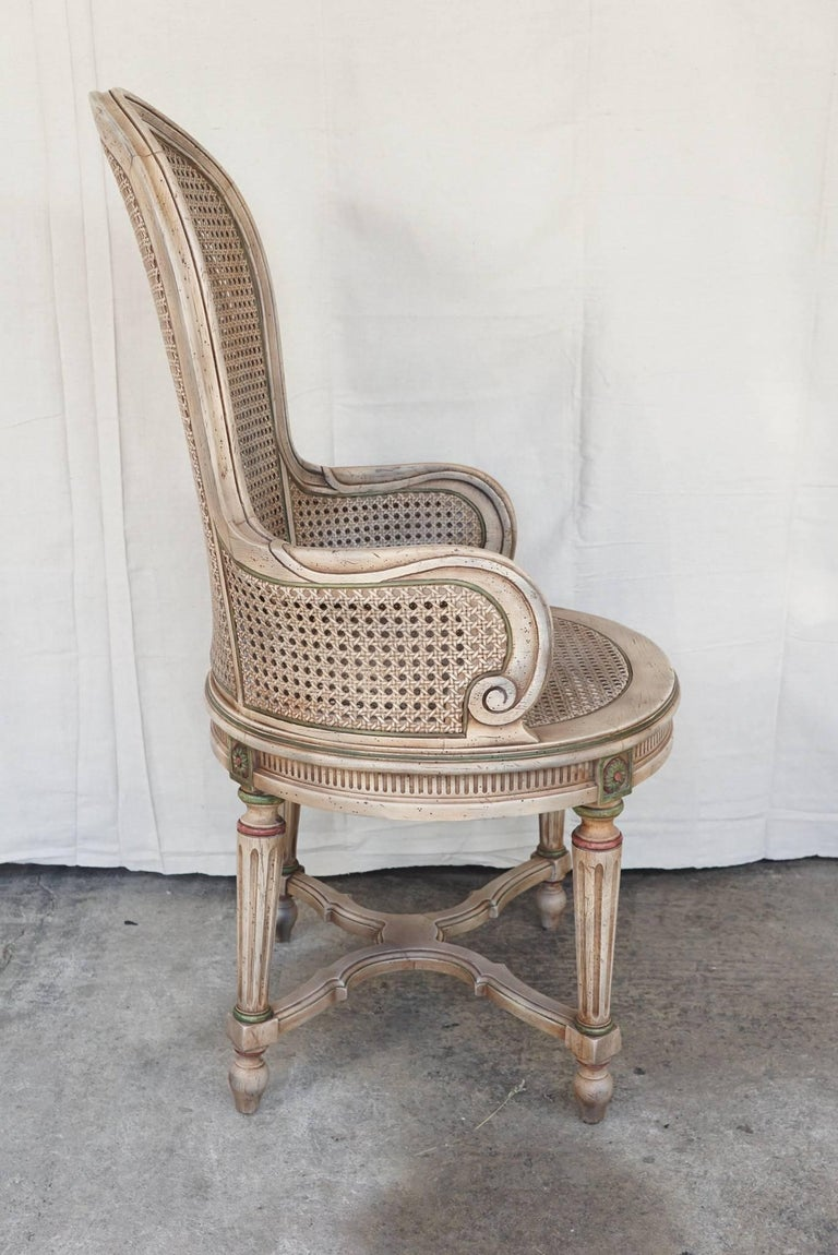 Carved Three Vintage Louis XVI Style Tall Caned Armchairs For Sale