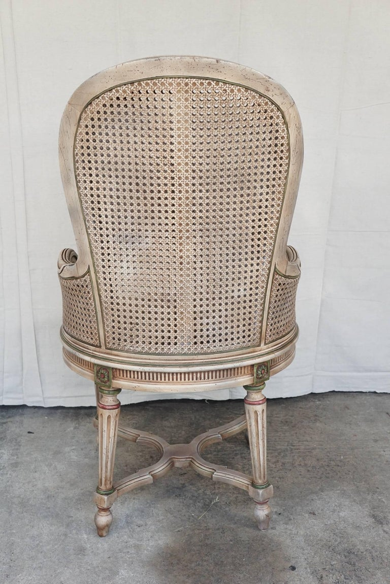 Three Vintage Louis XVI Style Tall Caned Armchairs In Excellent Condition For Sale In Hudson, NY