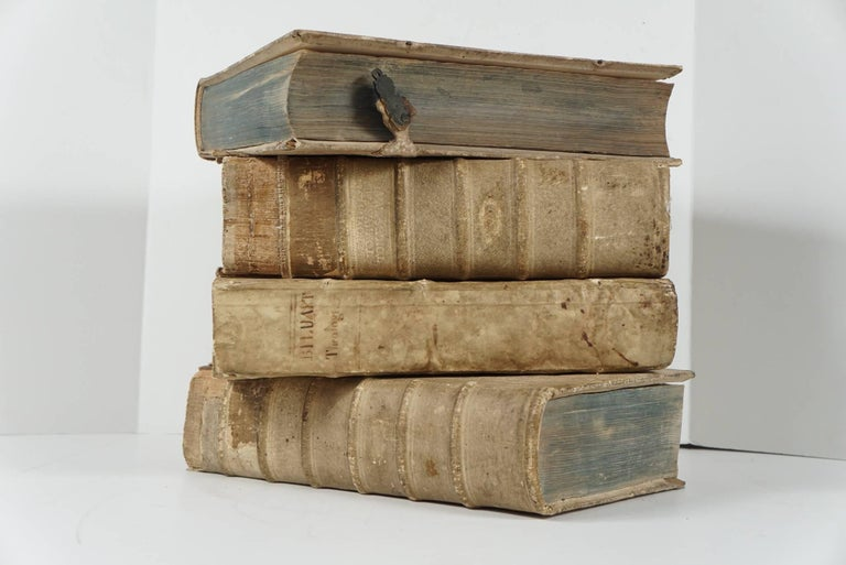 Four 18th Century Vellum Covered Latin Books In Good Condition For Sale In Hudson, NY