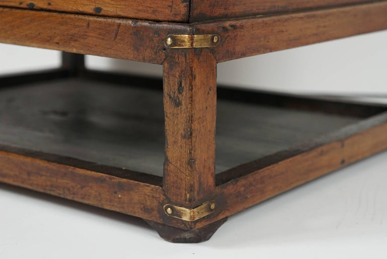 19th Century Chinese Provincial Metal Bound Wood Writing Box on Stand For Sale 2