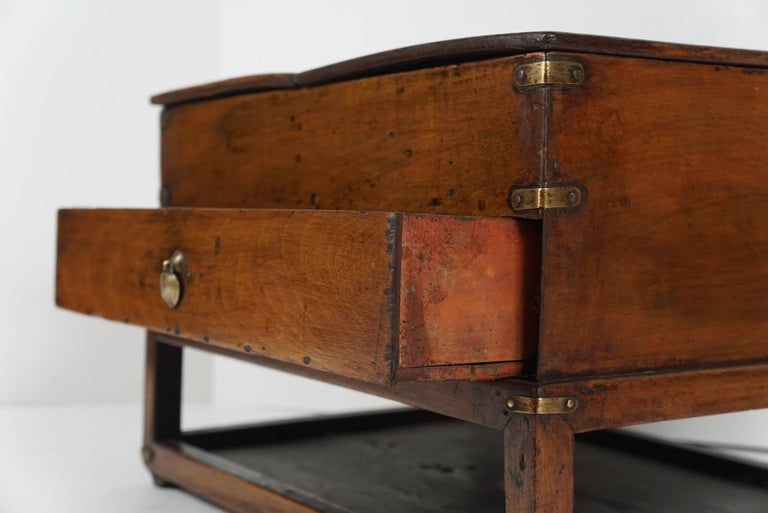 19th Century Chinese Provincial Metal Bound Wood Writing Box on Stand For Sale 4