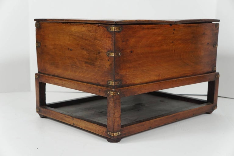 19th Century Chinese Provincial Metal Bound Wood Writing Box on Stand For Sale 6
