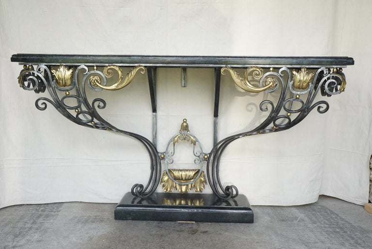 French Louis XV Style Polished Steel & Polished Bronze Marble Topped Console Table For Sale