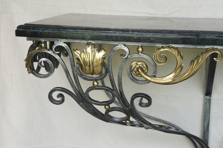 Cast Louis XV Style Polished Steel & Polished Bronze Marble Topped Console Table For Sale
