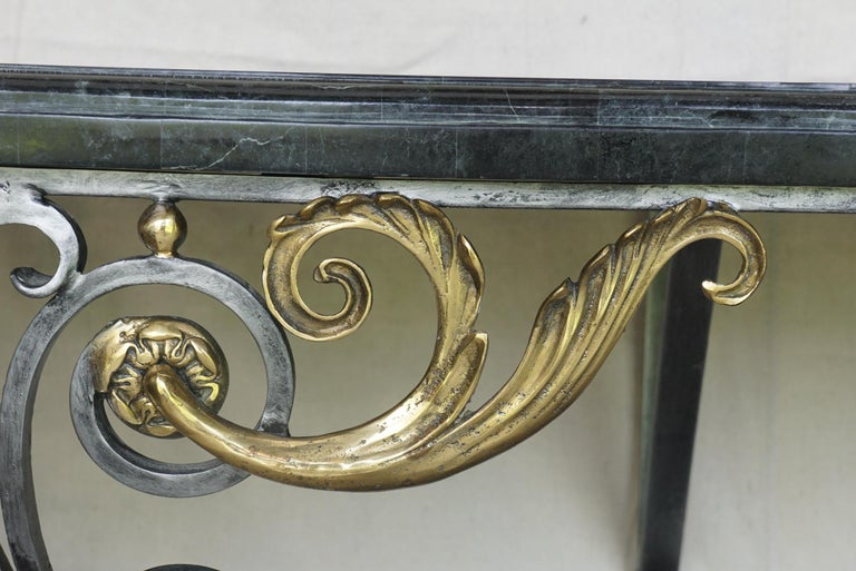20th Century Louis XV Style Polished Steel & Polished Bronze Marble Topped Console Table For Sale
