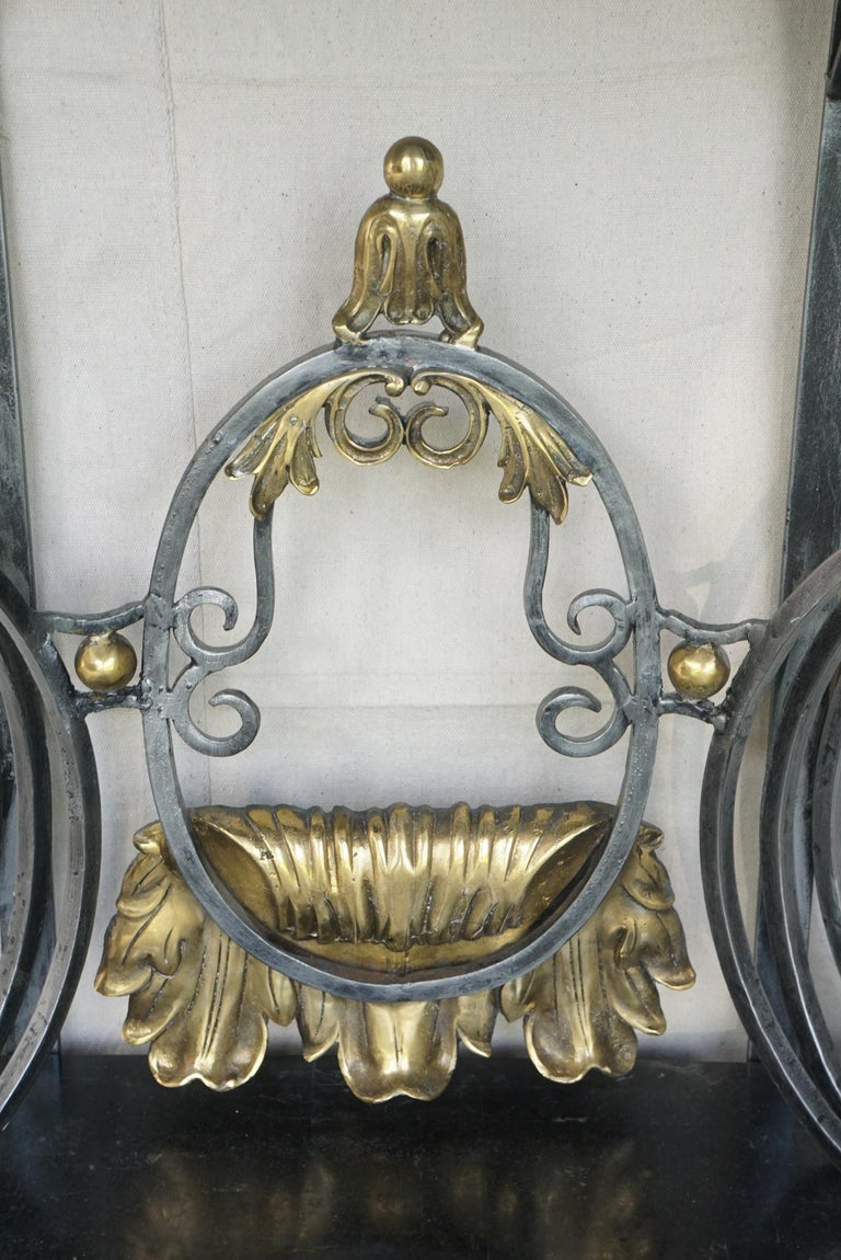 Louis XV Style Polished Steel & Polished Bronze Marble Topped Console Table For Sale 1