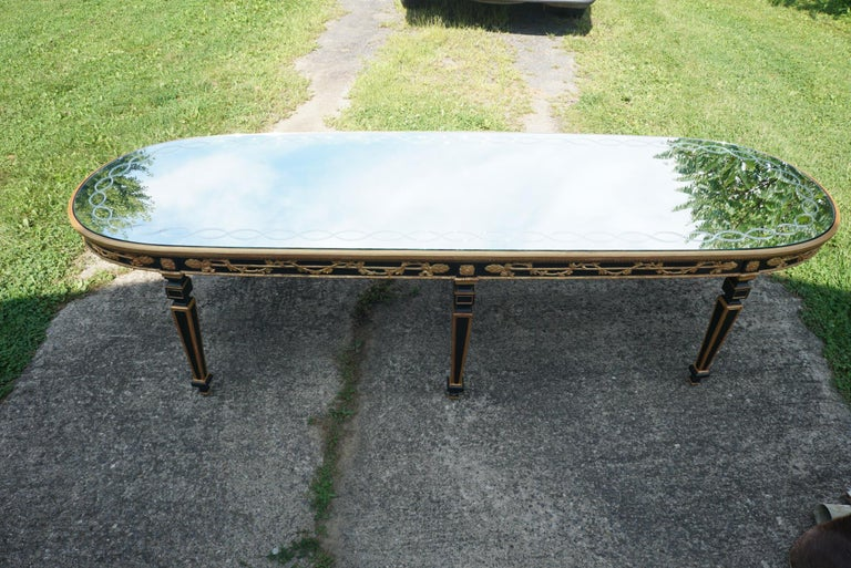 Large Vintage Mirror Topped Dining Table in the Manner of Jansen For Sale 1