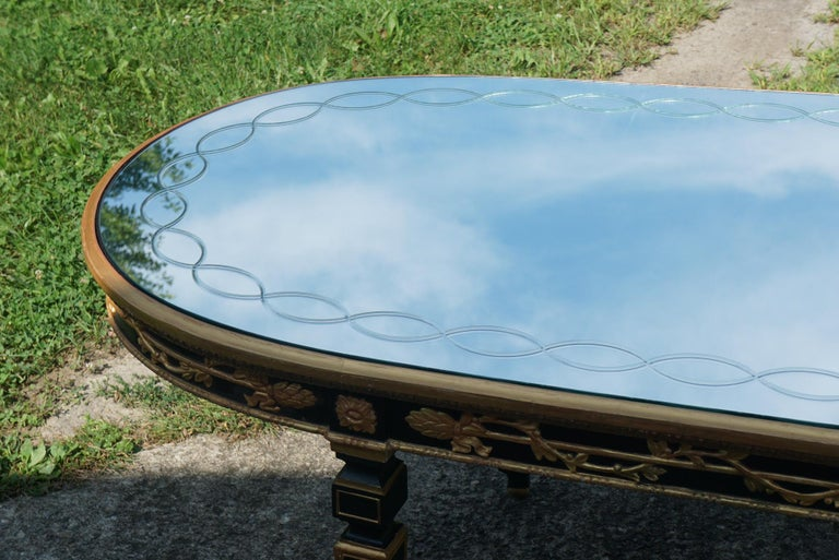 Large Vintage Mirror Topped Dining Table in the Manner of Jansen For Sale 2