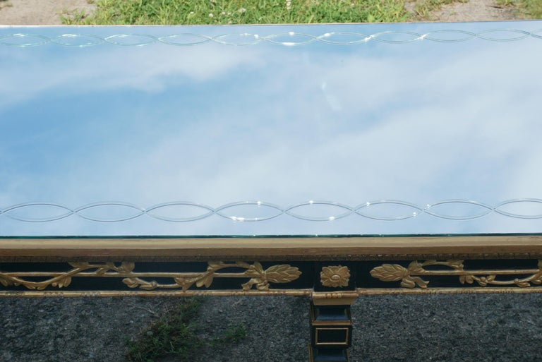 Large Vintage Mirror Topped Dining Table in the Manner of Jansen For Sale 3