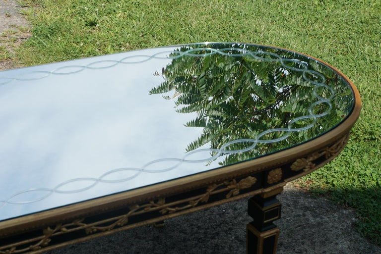 Large Vintage Mirror Topped Dining Table in the Manner of Jansen For Sale 4