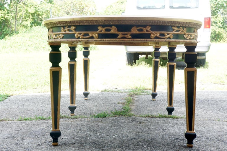 20th Century Large Vintage Mirror Topped Dining Table in the Manner of Jansen For Sale