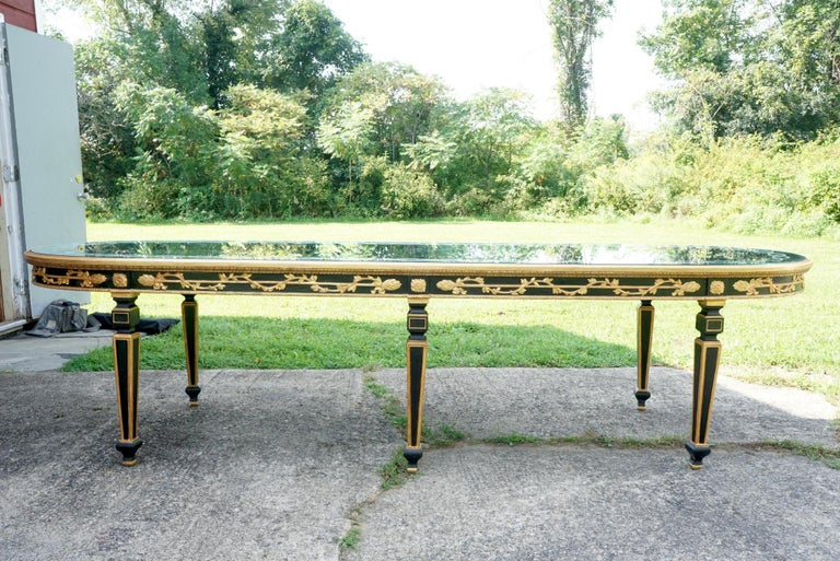Large Vintage Mirror Topped Dining Table in the Manner of Jansen For Sale 7