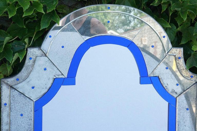 Italian Vintage Art Deco Modernist Venetian Mirror For Sale