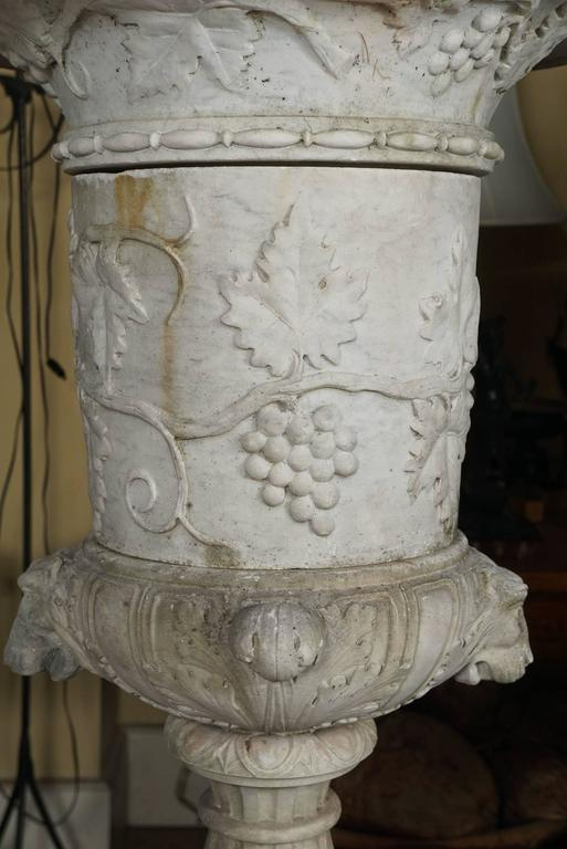 Italian 19th Century Carved White Marble Garden Urn on Limed Walnut Pedestal   In Good Condition For Sale In Hudson, NY