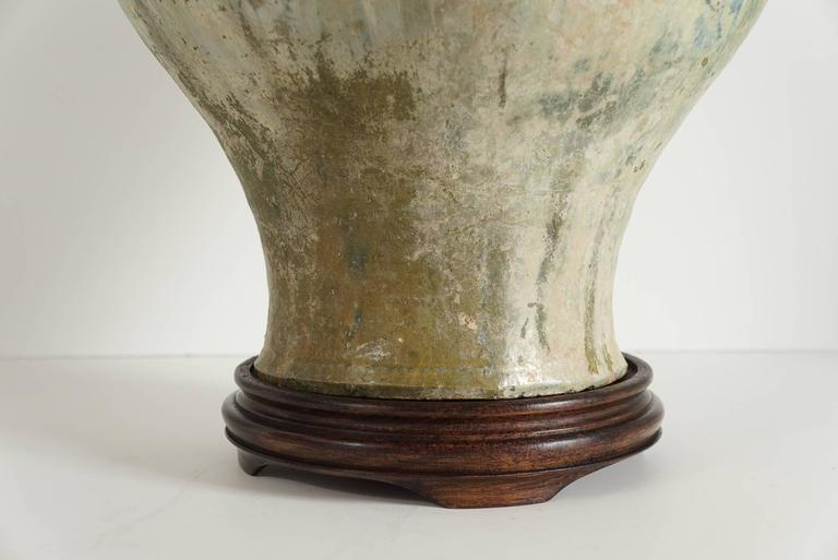 Large Han Iridescent Green Glazed Pottery Vase At 1stdibs