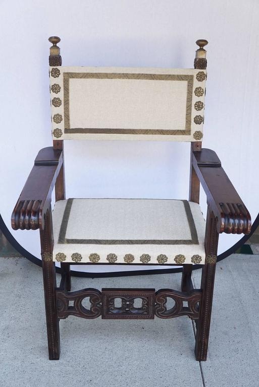 18th Century Italian Carved Walnut Armchair For Sale At