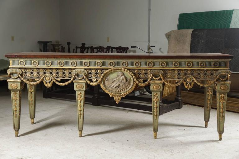 This very impressive console table comes from the famous American Country house Blairsden. This house built in Peapack NJ for C. Ledyard Blair and Mrs Florence Blair between 1898 and 1903.The house was created and decorated by the important