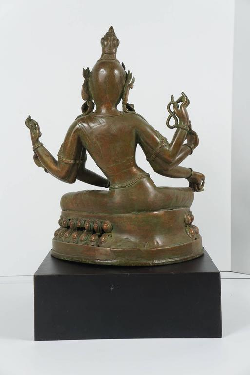 19th Century Tibetan Patinated Bronze Figure of Tara on New Black Base 3