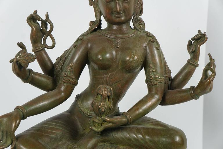19th Century Tibetan Patinated Bronze Figure of Tara on New Black Base 5