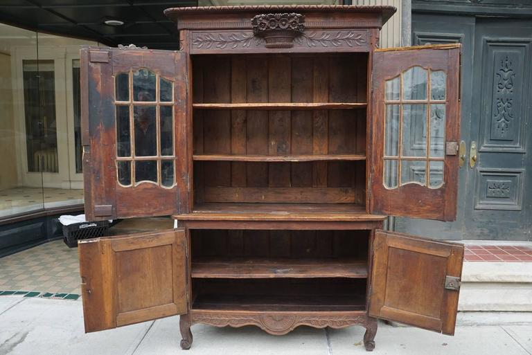 18th Century Oak French Louis XV Normandy Buffet Deux Corp For Sale 2