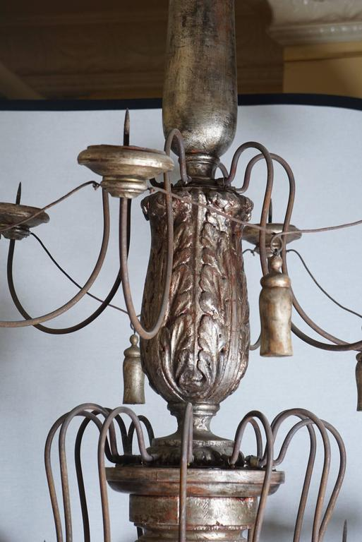Very Large Silver Leafed Carved Wood French Eighteen-Light Chandelier 6